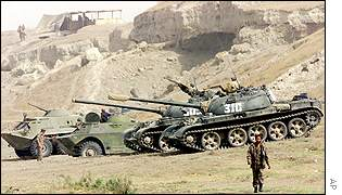 Tanks by rocks in Afghanistan