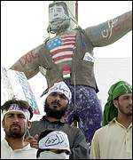 Protesters with effigy of President Bush in city of Quetta