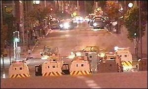 RUC vehicles block Shankill Road in Belfast during trouble