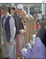 Giving money to beggars in Kabul