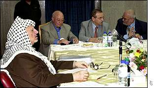 Palestinian leader Yasser Arafat chairs cabinet meeting, 12 October