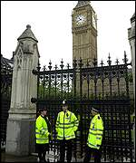 Officers outside the Houses of Parliament