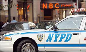Police patrol outside NBC studios
