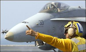 F/A-18 Hornet returns from mission