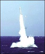 A British submarine firing a cruise missile.