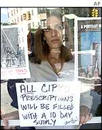 Sign in New York pharmacist's window