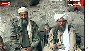 Osama Bin Laden and a lieutenant in a recorded video broadcast on al-Jazeera