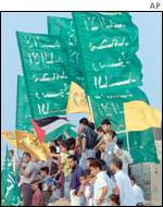 Demonstrators with flags