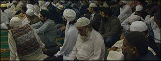 The congregation in the Birmingham Central Mosque