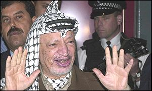 Yasser Arafat arriving at Heathrow Airport