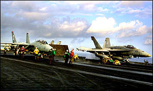 F-14 Tomcat and F-18 Hornet aircraft on board the aircraft carrier USS Enterprise