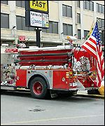fire engine with US flag