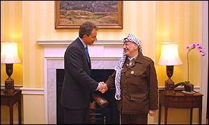 Tony Blair and Yasser Arafat