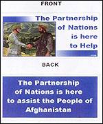 Another of the leaflets being dropped on Afghanistan by US-led forces