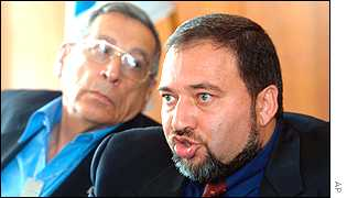 Rehavam Zeevi, left, and Avigdor Lieberman