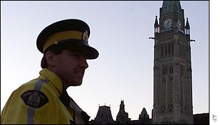 Police officer stands guard at Parliament Hill in the Canadian capital Ottawa