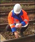 Engineer inspects rail