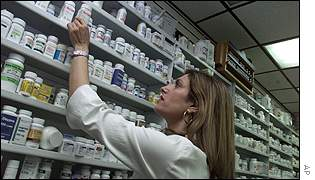Antibiotic Cipro on the shelves of a New York drugstore