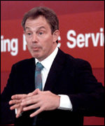 Tony Blair addressing public sector workers