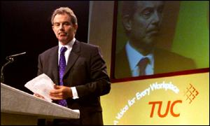 Prime minister Tony Blair at the TUC conference