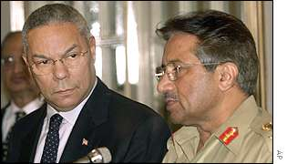 US Secretary of State Colin Powell and Pakistan's President General Pervez Musharraf