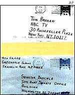 Envelopes sent to the US Senate and NBC TV in New York