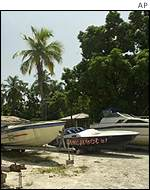 Confiscated speedboats used by drug smugglers in Haiti