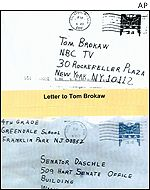 Two letters containing anthrax sent to Senator Tom Daschle and NBC's anchorman