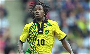 Centre forward Ricardo Fuller in action for Jamaica