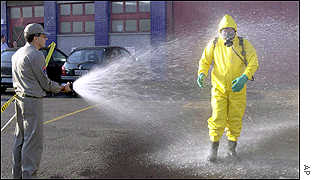 Hazchem worker being hosed down