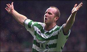 John Hartson celebrates as he scores his first goal