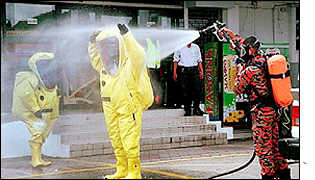 Decontamination unit workers are sprayed by a colleague, Malaysia