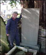 Glyn Budd at the grave of William Hopkin