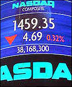 The Nasdaq market site billboard posts losses on a recent trading day
