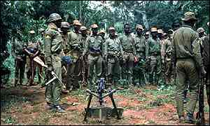 Biafran soldiers at a briefing during the war.