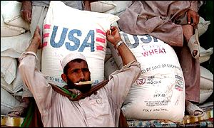 US aid is unloaded from a truck