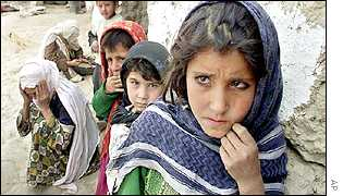 Afghan refugee children in Khwaja-Bahauddin, an anti-Taleban northern stronghold in the Takhar province
