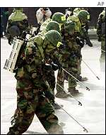 South Korean troops in protective gear