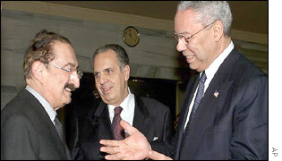 Turkish Prime Minister Bulent Ecevit with Secretary of US State Colin Powell