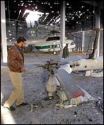 Hangar with destroyed  Palestinian helicopters