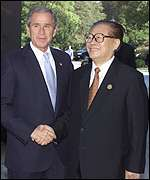 George W Bush and Chinese President Jiang Zemin