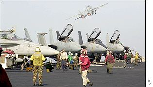 Fighter aircraft on board USS Enterprise