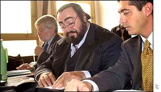 Luciano Pavarotti (C) in court
