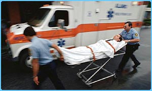 Man on a stretcher