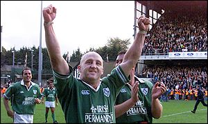 Ireland captain and man-of-the-match Keith Wood leads the victory celebrations
