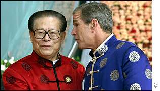 China's President Jiang Zemin (left) with President George Bush