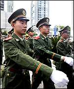 Chinese soldiers at Apec venue