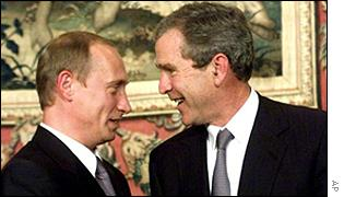 President Vladimir Putin and President George W Bush