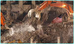The American flag in the ruins of the World Trade Center