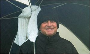 Hollywood star Michael Douglas during the rain-delayed third round of the Dunhill Links Championship